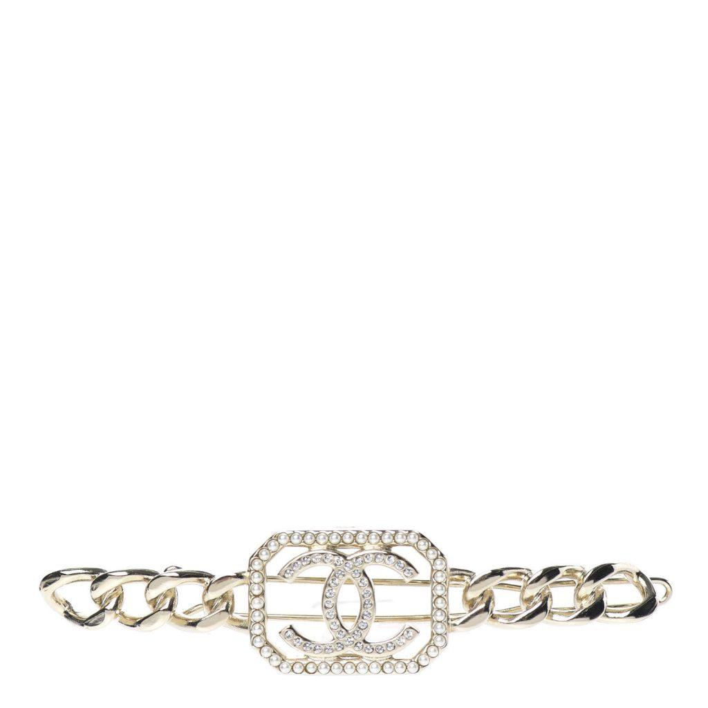 Chanel Crystal Chain  CC Hair Clip Barrette