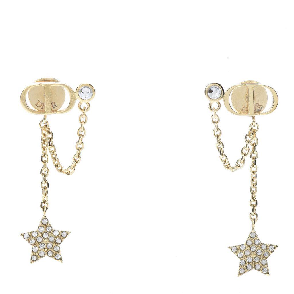 Christian Dior Crystal Star CD J'Adior Dangle Earrings in Gold