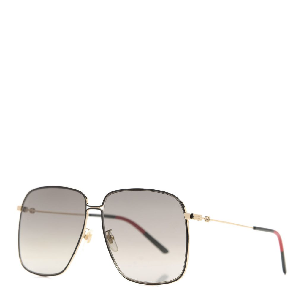 Gucci Rectangular Frame Interlocking G Sunglasses GG0394S in Green Red