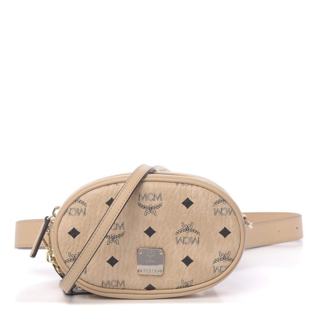 MCM Visetos Small Essential Belt Bag in Beige
